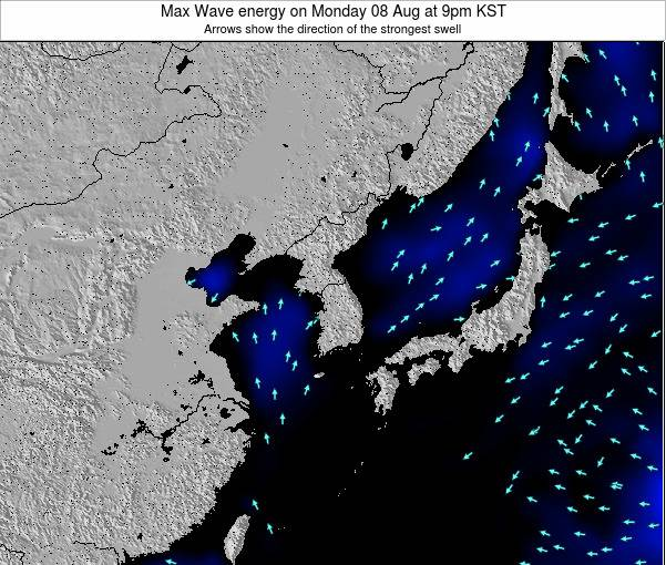 South Korea Max Wave energy on Sunday 26 May at 3pm KST
