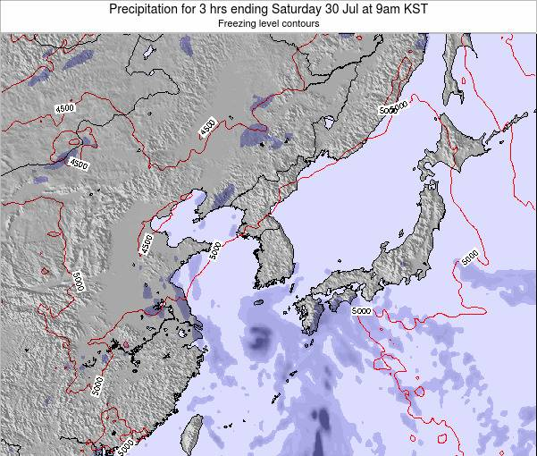 South Korea Precipitation for 3 hrs ending Thursday 20 Jun at 9pm KST