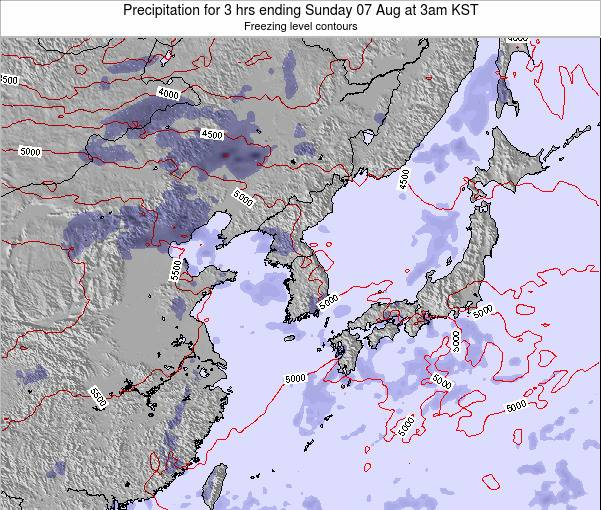 South Korea Precipitation for 3 hrs ending Wednesday 16 Apr at 3pm KST
