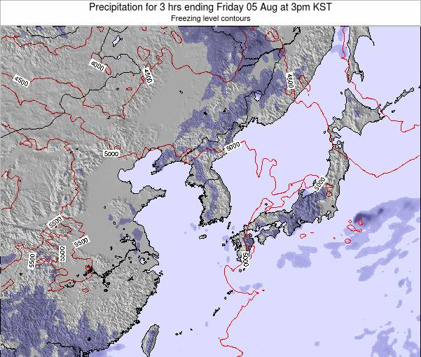 South Korea Precipitation for 3 hrs ending Wednesday 30 Jul at 3pm KST
