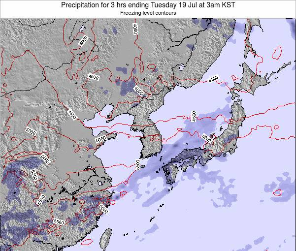 South Korea Precipitation for 3 hrs ending Tuesday 11 Mar at 3am KST