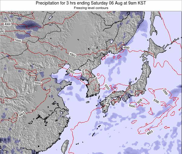 South Korea Precipitation for 3 hrs ending Thursday 23 Oct at 9pm KST