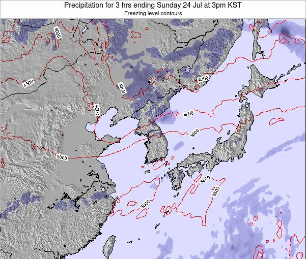 South Korea Precipitation for 3 hrs ending Friday 09 Oct at 9pm KST