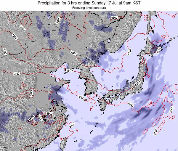 South Korea Precipitation for 3 hrs ending Tuesday 28 Apr at 9am KST