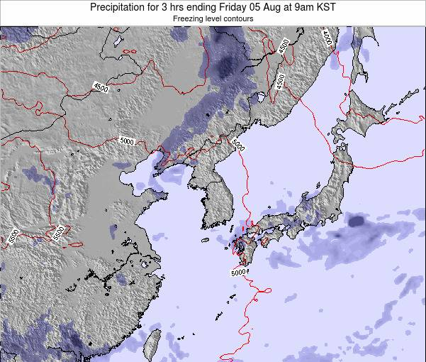 South Korea Precipitation for 3 hrs ending Friday 25 Apr at 9am KST