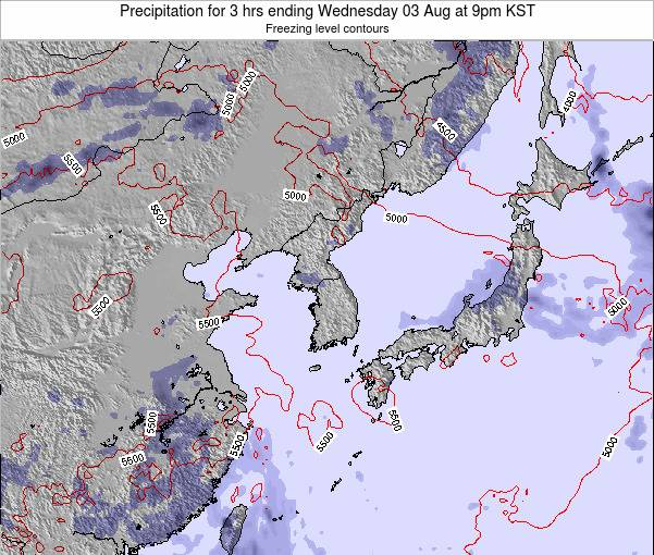 South Korea Precipitation for 3 hrs ending Wednesday 02 Sep at 9am KST