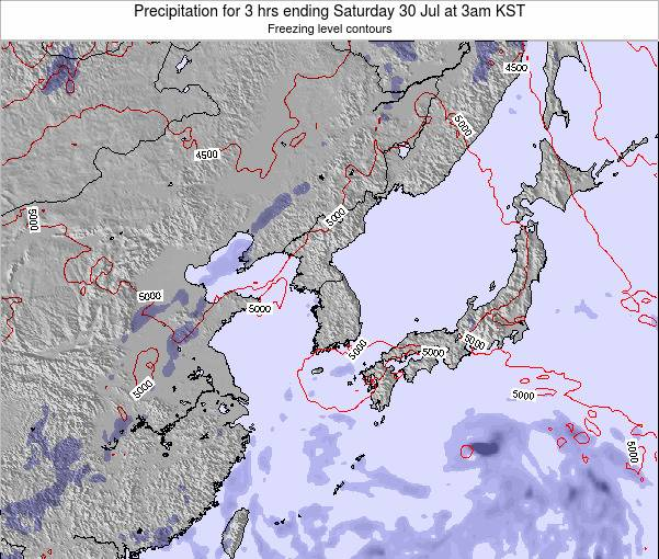 South Korea Precipitation for 3 hrs ending Monday 27 May at 3pm KST