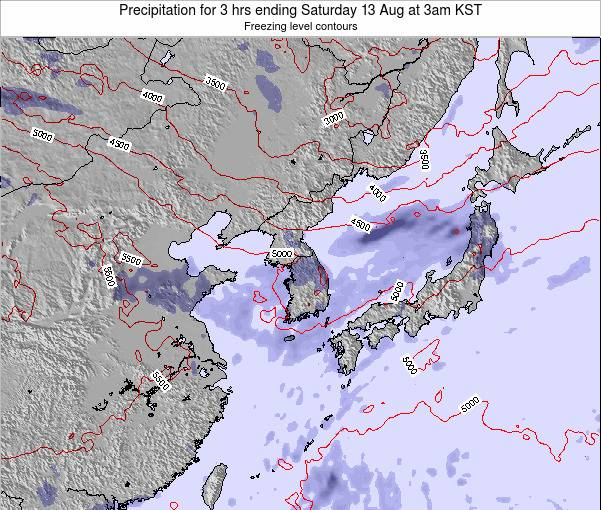 South Korea Precipitation for 3 hrs ending Tuesday 29 Apr at 3pm KST