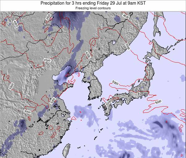 South Korea Precipitation for 3 hrs ending Monday 09 Mar at 9am KST