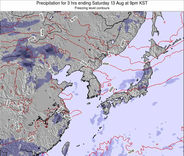 South Korea Precipitation for 3 hrs ending Thursday 13 Mar at 9am KST