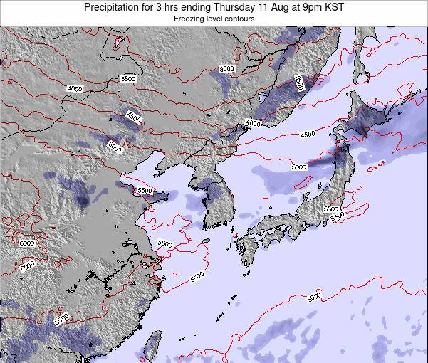 South Korea Precipitation for 3 hrs ending Saturday 26 Apr at 3pm KST