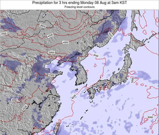 South Korea Precipitation for 3 hrs ending Saturday 02 Aug at 9pm KST