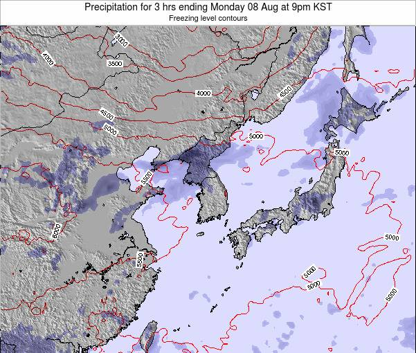 South Korea Precipitation for 3 hrs ending Friday 01 Aug at 3am KST