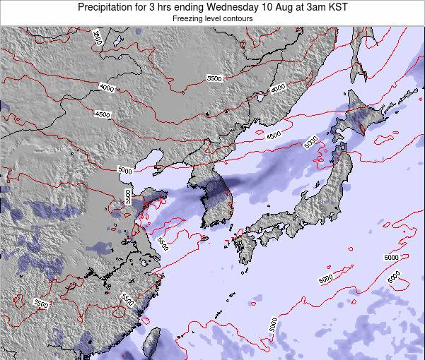 South Korea Precipitation for 3 hrs ending Tuesday 18 Mar at 9am KST
