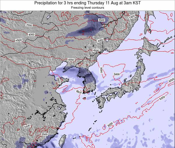 South Korea Precipitation for 3 hrs ending Saturday 05 Sep at 3am KST