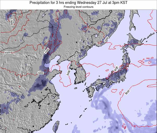 South Korea Precipitation for 3 hrs ending Wednesday 30 Apr at 9am KST