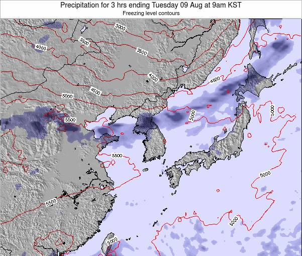 South Korea Precipitation for 3 hrs ending Tuesday 25 Jun at 3pm KST