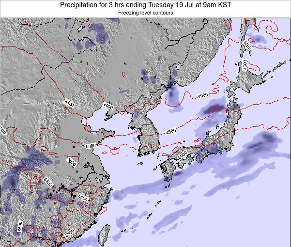 South Korea Precipitation for 3 hrs ending Monday 16 Dec at 3am KST