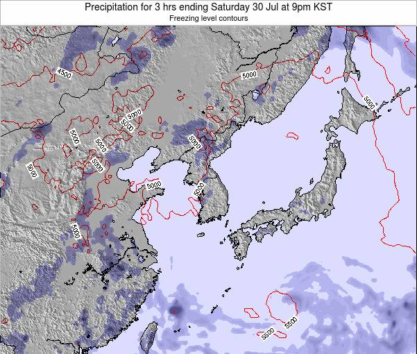 South Korea Precipitation for 3 hrs ending Thursday 24 Apr at 3am KST