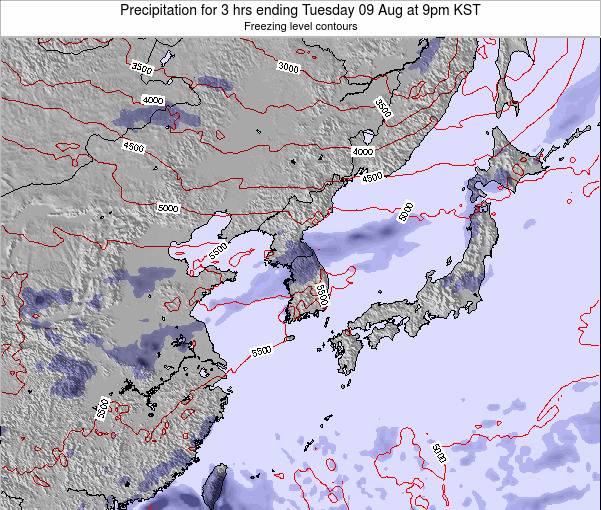 South Korea Precipitation for 3 hrs ending Saturday 07 Feb at 9am KST