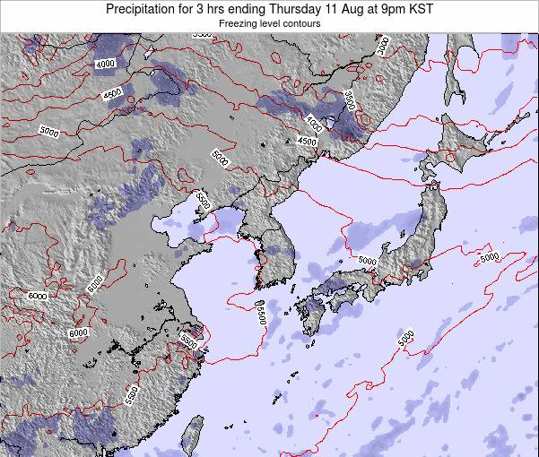 South Korea Precipitation for 3 hrs ending Thursday 31 Jul at 3am KST