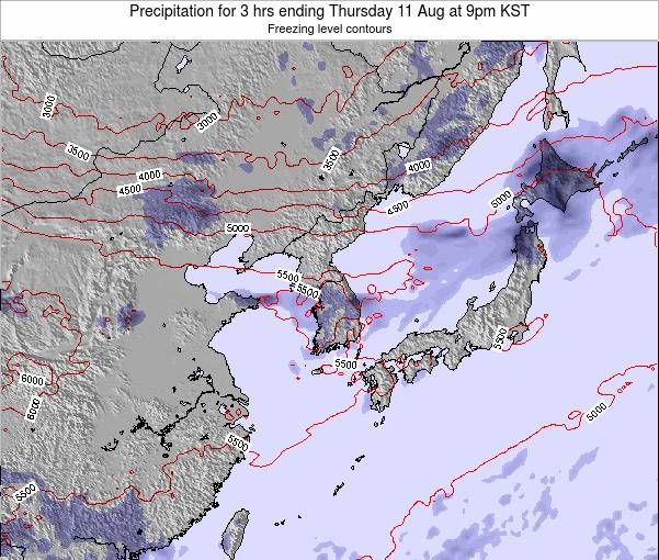 South Korea Precipitation for 3 hrs ending Tuesday 18 Mar at 3pm KST