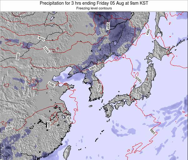 South Korea Precipitation for 3 hrs ending Saturday 15 Mar at 9am KST
