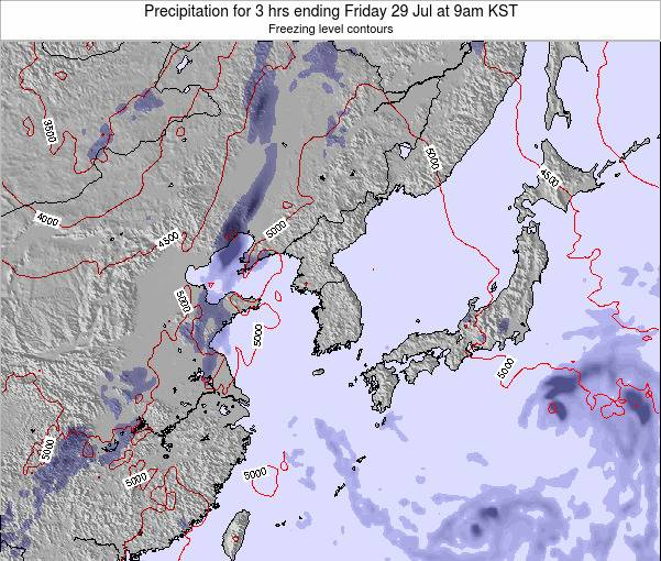 South Korea Precipitation for 3 hrs ending Thursday 12 Dec at 9am KST