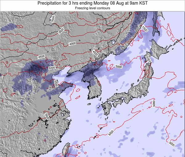 South Korea Precipitation for 3 hrs ending Saturday 26 Apr at 3am KST