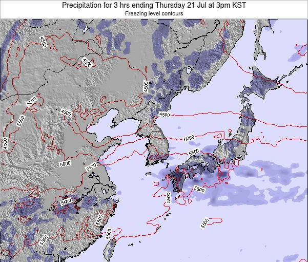 South Korea Precipitation for 3 hrs ending Sunday 01 Feb at 3pm KST