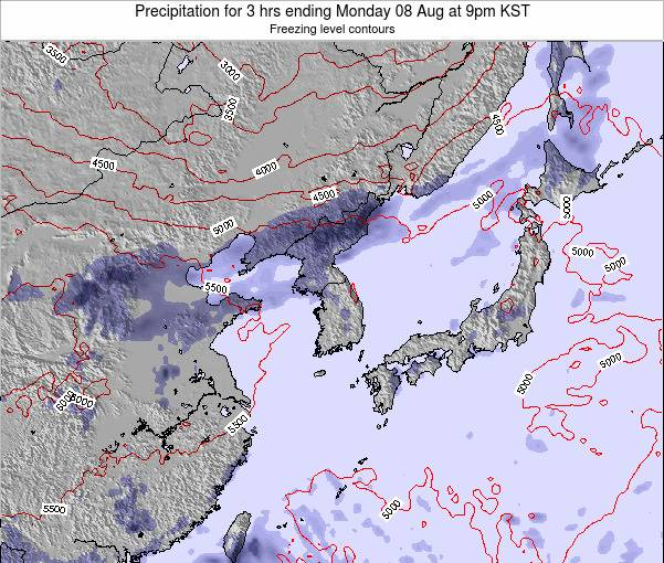 South Korea Precipitation for 3 hrs ending Wednesday 30 Apr at 3pm KST