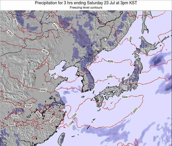 South Korea Precipitation for 3 hrs ending Tuesday 05 Aug at 3pm KST
