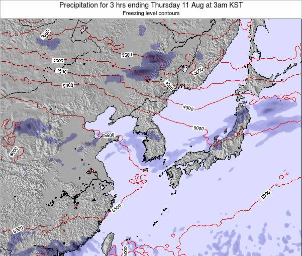 South Korea Precipitation for 3 hrs ending Wednesday 26 Jun at 3am KST