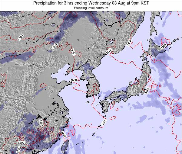 South Korea Precipitation for 3 hrs ending Monday 17 Mar at 9am KST
