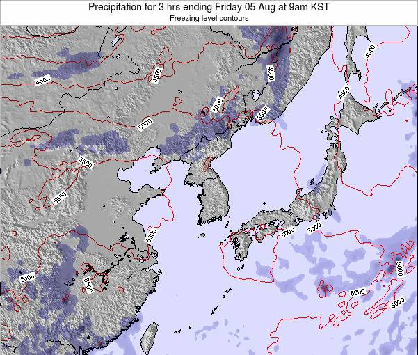 South Korea Precipitation for 3 hrs ending Thursday 01 May at 9am KST