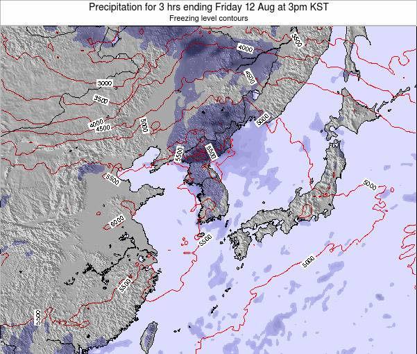 South Korea Precipitation for 3 hrs ending Monday 04 Aug at 3am KST
