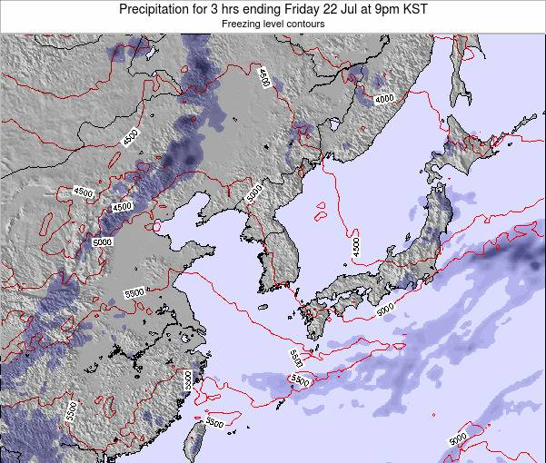 South Korea Precipitation for 3 hrs ending Friday 31 May at 9pm KST