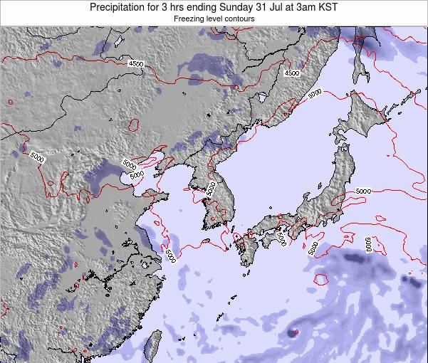 South Korea Precipitation for 3 hrs ending Thursday 19 Dec at 9pm KST