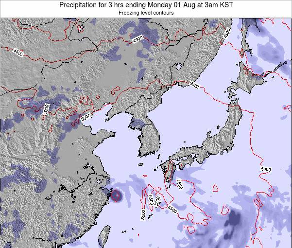 South Korea Precipitation for 3 hrs ending Monday 06 Apr at 9am KST
