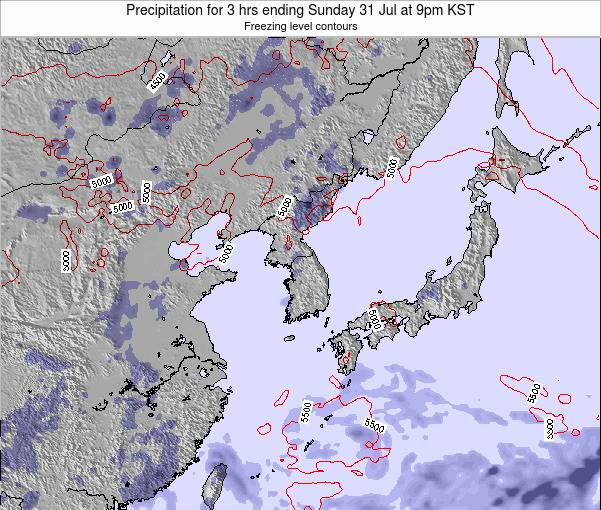 South Korea Precipitation for 3 hrs ending Thursday 19 Dec at 3am KST