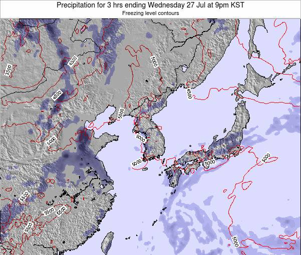 South Korea Precipitation for 3 hrs ending Friday 05 Jun at 9am KST