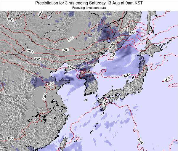South Korea Precipitation for 3 hrs ending Friday 31 Oct at 3am KST