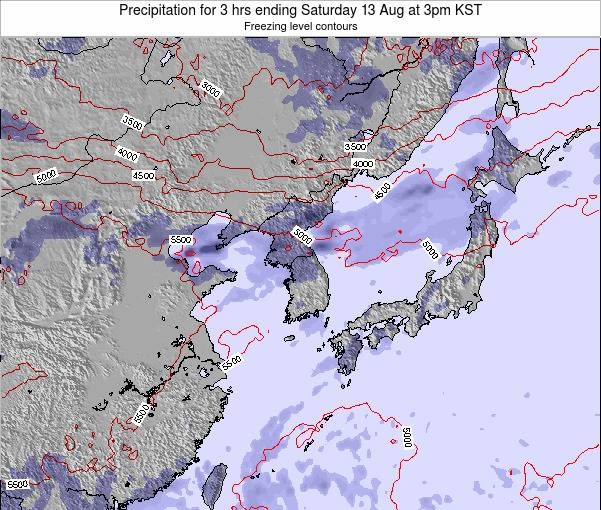 South Korea Precipitation for 3 hrs ending Tuesday 28 May at 3am KST