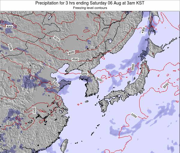 South Korea Precipitation for 3 hrs ending Sunday 03 Aug at 9pm KST