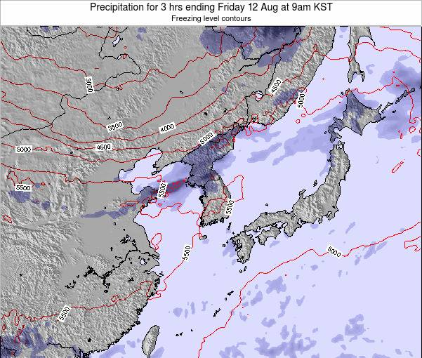 South Korea Precipitation for 3 hrs ending Saturday 02 Aug at 3am KST