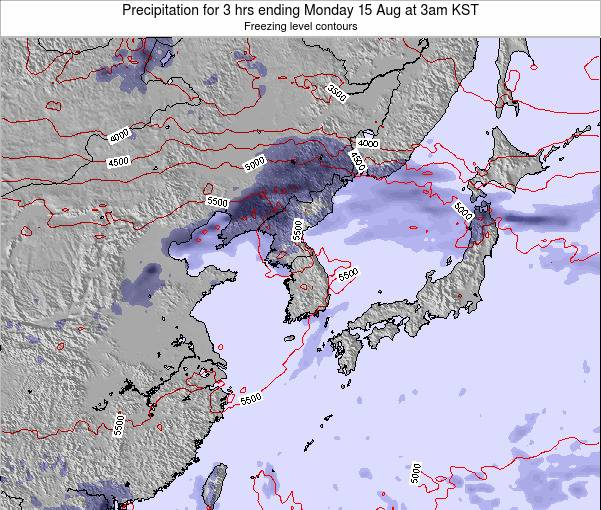 South Korea Precipitation for 3 hrs ending Saturday 08 Aug at 9am KST