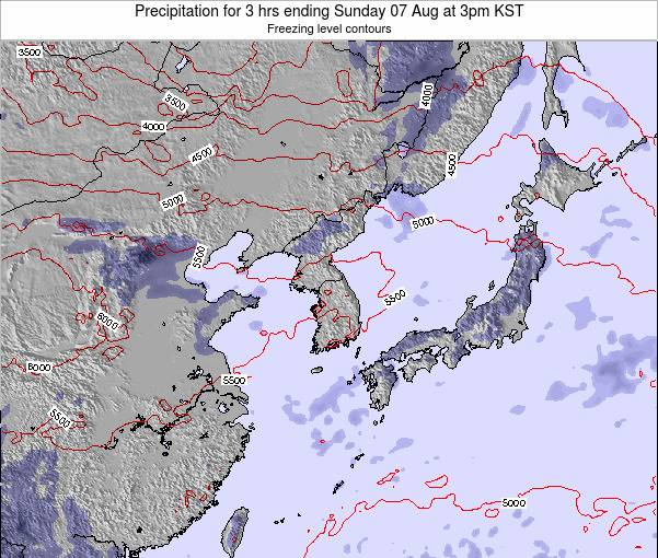 South Korea Precipitation for 3 hrs ending Tuesday 28 May at 9am KST