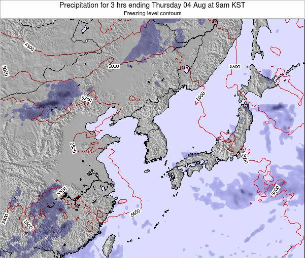 South Korea Precipitation for 3 hrs ending Tuesday 18 Mar at 9pm KST