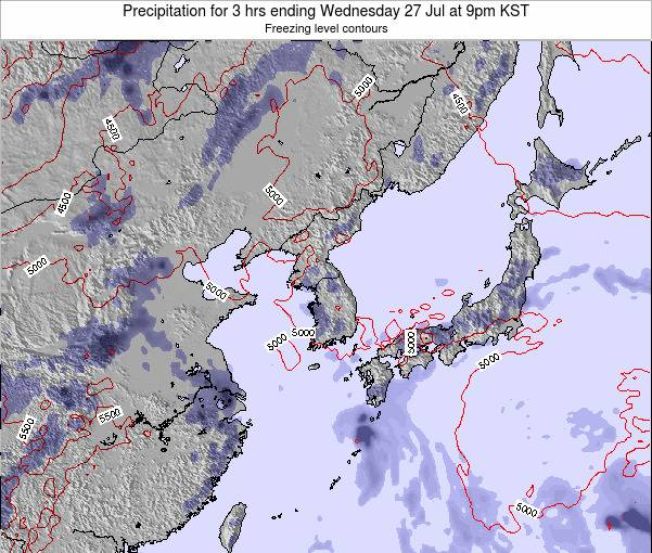 South Korea Precipitation for 3 hrs ending Friday 01 Aug at 9pm KST
