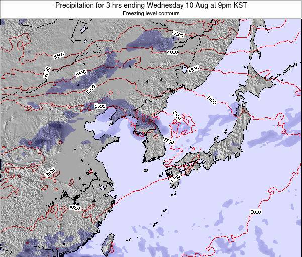 South Korea Precipitation for 3 hrs ending Thursday 01 May at 9pm KST